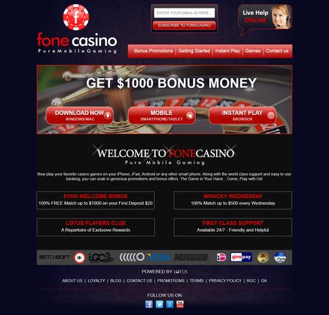 LAUNCH OF FULL SERVICE CASINO - FONECASINO.COM | Lotus Group of Online Casinos | Scoop.it