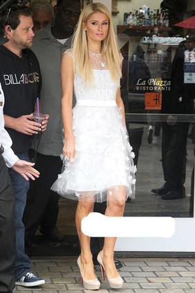 Paris Hilton In Christian Louboutin Beige Bianca 140mm - Christian Louboutin Pumps / Burberry Check Shirts : Christian Louboutin Daffodile Pumps ,Burberry Shirts For Womens, Buy Christian Louboutin... | Amazing Hello Kitty Bags | Scoop.it