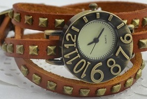 [Up to 28% Off] Fashion antique long leather band square rivet punk woman bracelet watch | Why Can't Make The Luxurious Things In Life Affordable? | Scoop.it