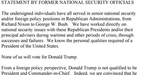A Letter From G.O.P. National Security Officials Opposing Donald Trump | Current Events, Political & This & That | Scoop.it