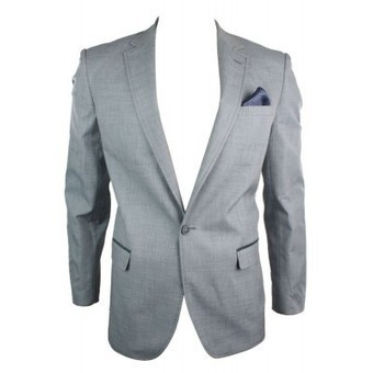 Mens 1 Button Slim Fit Blazer Jacket Grey Blue Elbow Patch Smart Casual | Mens clothing | Scoop.it