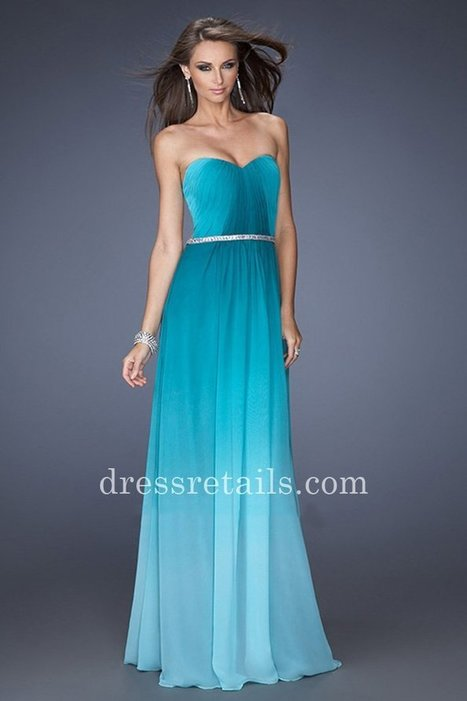 Ombre jade chiffon La Femme 19989 strapless prom dresses with sheer back [La Femme 19989] - $179.00 : Prom Dresses | Dresses From dressretails.com | Dresses for girls | Scoop.it