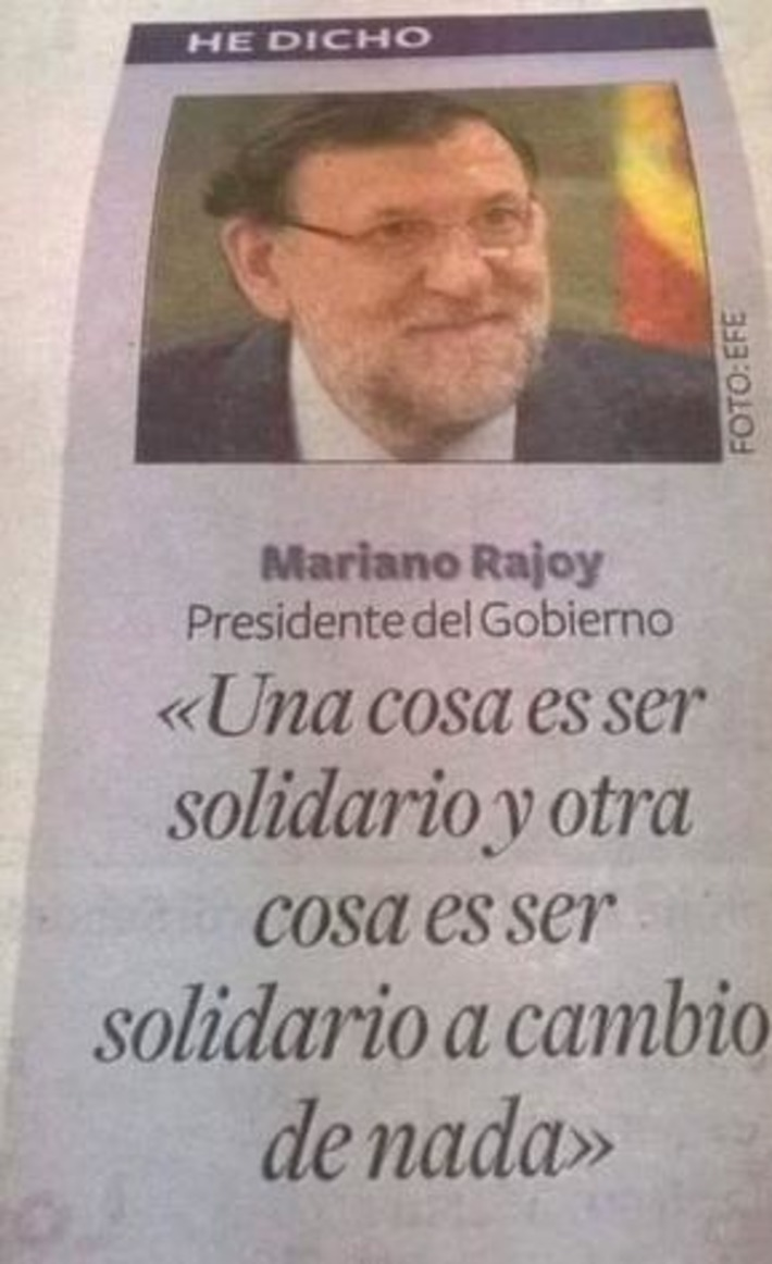 Mariano Rajoy y la solidaridad | Partido Popular, una visión crítica | Scoop.it