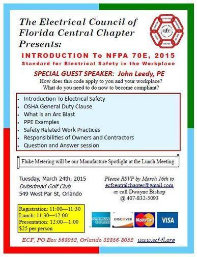 ECF Central Chapter Luncheon: Intro to NFPA 70E 2015 - | Trending | Scoop.it