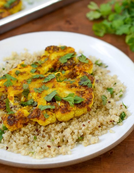 Recipe:  Cauliflower Steaks with Ginger, Turmeric, and Cumin   Recipes from The Kitchn   My Vegan recipes   Scoop.it