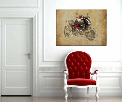 40x28 in. Ducati Diavel Carbon 2011, 100x70cm Art Print poster based on an original art, | Ducati Art | Scoop.it