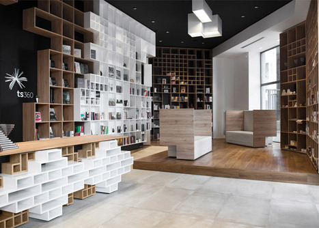 Box-like shelving covers walls in SoNo Arhitekti's Book Centre Trieste shop - Dezeen | Book Shelves | Scoop.it