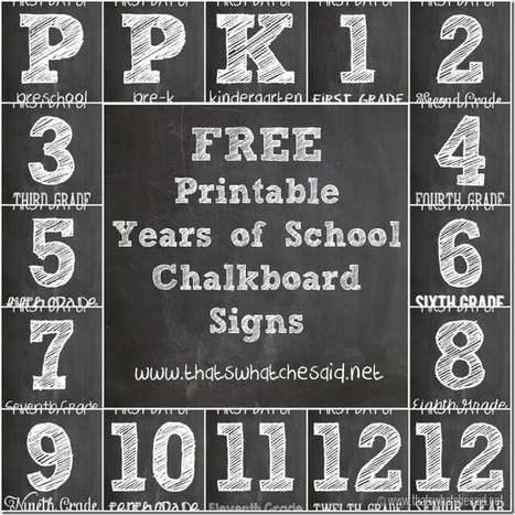 FREE Chalkboard First Day of School Signs - Monthly Blog Hop - That's What {Che} Said... | back to school | Scoop.it