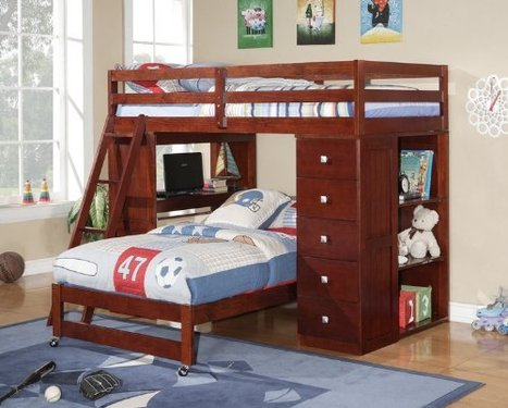 #Hot Twin over Twin Modular Loft Bed with Chest and Desk ... | Loft Bed with Slide | Scoop.it