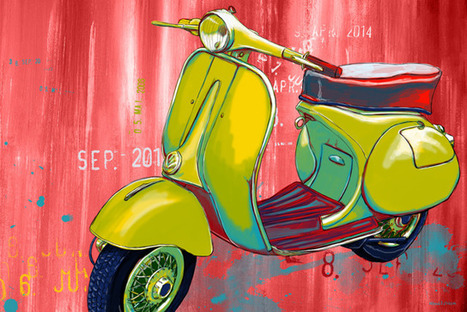 Maxwell Dickson: Vintage Scooter Art Old School Retro Vespa ... | Vespa Stories | Scoop.it