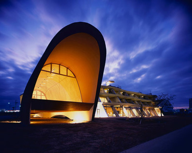 Hotel adjoins a chapel with a reverberating harp-string facade | Architecture-Engineering-Urban Planning | Scoop.it