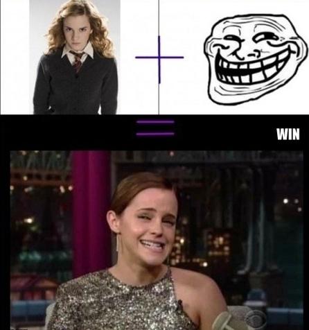 The Emma Watson Troll face = Win | Funny Pics | Funny Pictures | Funny Videos | Lol Videos | lolpictures | Scoop.it