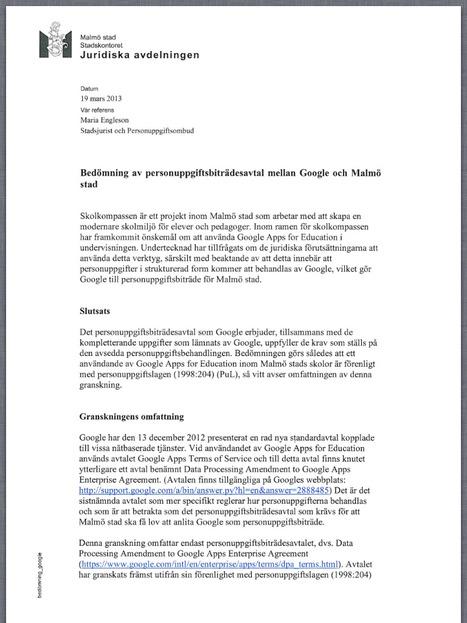 Malmö stadsjurists tolkning av nyttjande av Google Apps | ICT in English teaching | Scoop.it