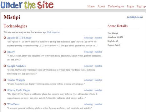 Under the site : Pour connaitre les technologies utilisées sur un site | Time to Learn | Scoop.it