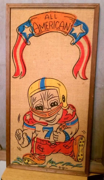 Vintage Retro Adorable All American Little League Kid Football Player Burlap Bulletin Board 1971 | Antiques & Vintage Collectibles | Scoop.it