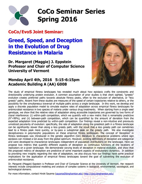 Next CoCo/EvoS joint seminar by Maggie Eppstein on Monday April 4th | Center for Collective Dynamics of Complex Systems (CoCo) | Scoop.it