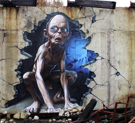 Amazing 3D Gollum Wall Graffiti | All Geeks | Scoop.it