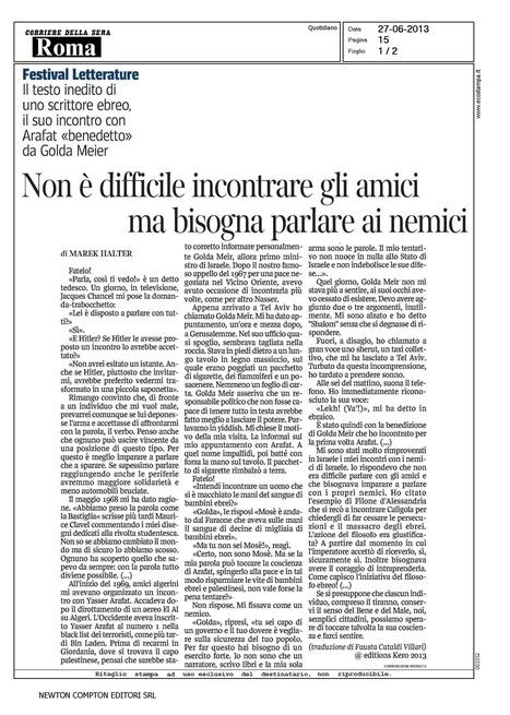 """Le Corriere della Sera de Rome publie un extrait de """"Faites-le!""""   Marek Halter   Scoop.it"""