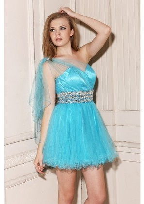 A Line One Shoulder Mini Blue Tulle Homecoming Dress Adoaa0047 - Homecoming Dresses - Special Occasion Dresses | mode | Scoop.it