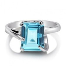 BERRICLE - Huge Natural Blue Topaz Gemstone Sterling Silver Solitaire Ring 3.79c | Blue Topaz | Scoop.it