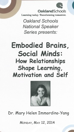 """Embodied Brains, Social Minds"" May 12th @ Oakland Schools 