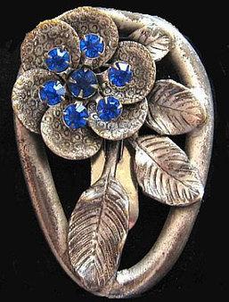 "Art Nouveau Brooch Fur Clip Blue Rhinestones Flower Leaf Etched Design Silver Cast Metal 2"" VG | vintage jewelry | Scoop.it"