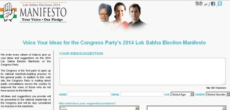 Congress invites suggestions from citizens on manifesto   Pollupdates.com   Politics and Elections in India   Scoop.it