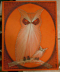 Vintage 1960s 1970s Retro Groovy Orange Momma & Baby OWL STRING ART Wall Hanging | Antiques & Vintage Collectibles | Scoop.it