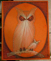 Vintage 1960s 1970s Retro Groovy Orange Momma & Baby OWL STRING ART Wall Hanging | Kitsch | Scoop.it