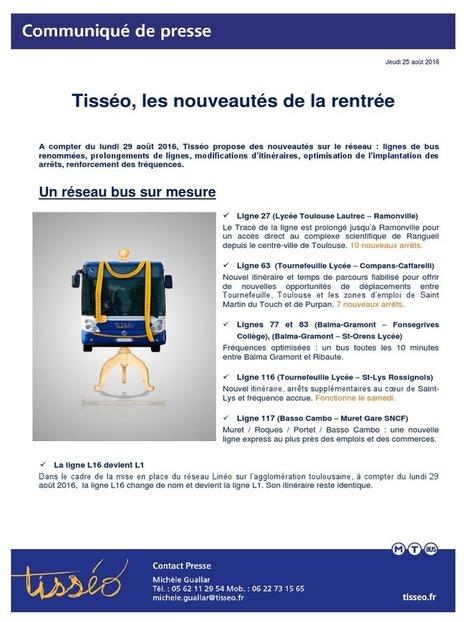 Les nouveautés de la rentrée chez Tisséo | Toulouse La Ville Rose | Scoop.it