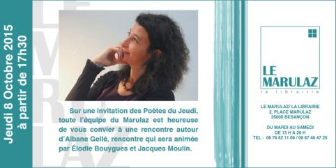 (agenda) 8 octobre, Besançon, Albane Gellé   Poezibao   Scoop.it