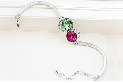 Swarovski Elements 18k White Gold Plated Bangle Bracelet Purple and Green from ECHE Treasures | swarovski elements | Scoop.it