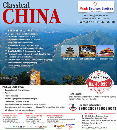 CLASSICAL CHINA | International Tour & Holiday Packages from India | International Tour & Holiday Packages from Delhi,  India. Book World Honeymoon Tour Packages at Pearlstourism.net | Scoop.it