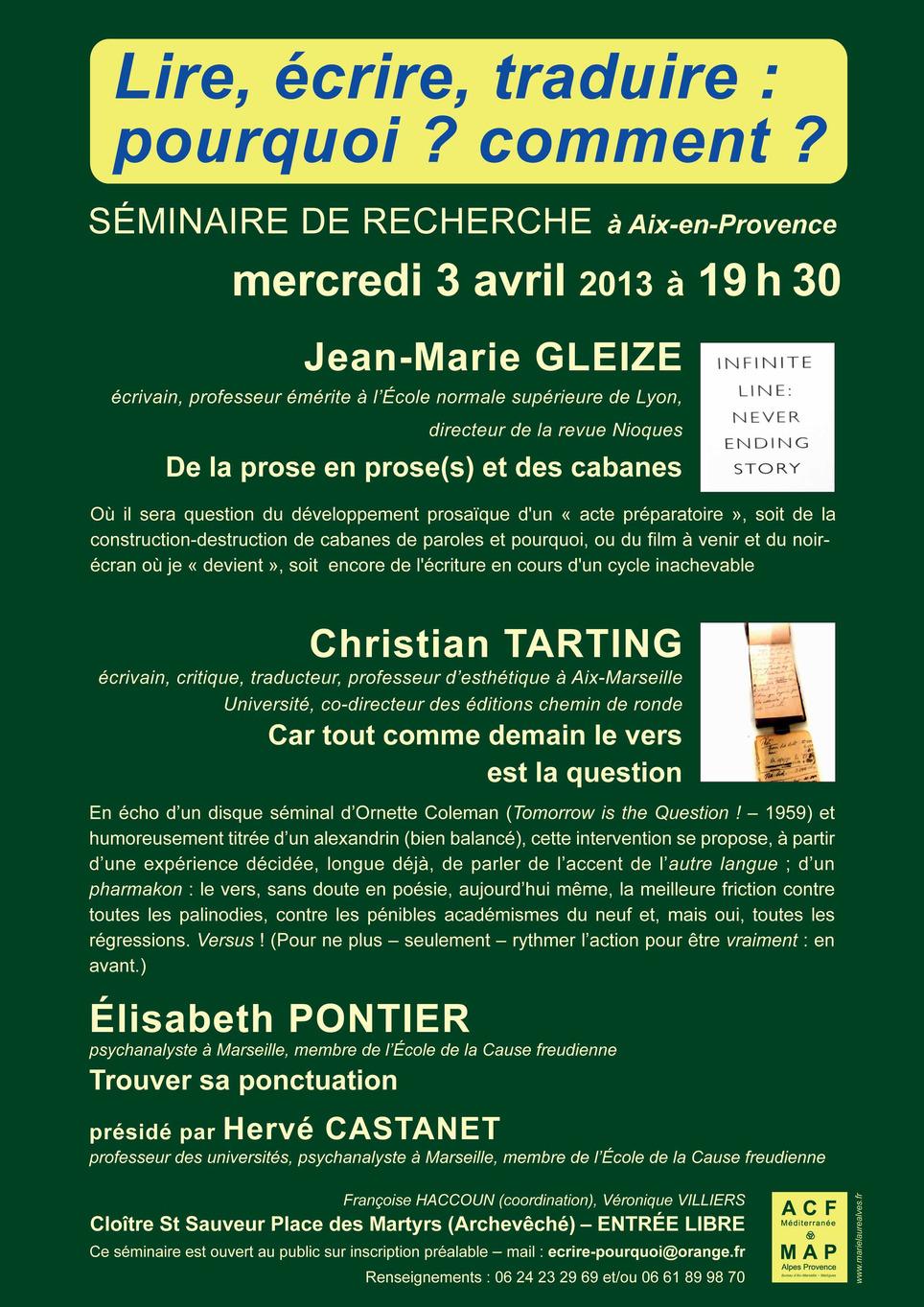 Lire, écrire, traduire, pourquoi ? comment ? avec JM Gleize et C. Tarting | Poezibao | Scoop.it