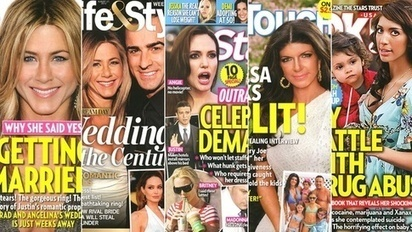 Why do tabloid magazines use the colors yellow, pink and aqua blue so prominently in their cover design and typography? | What's new in Visual Communication? | Scoop.it