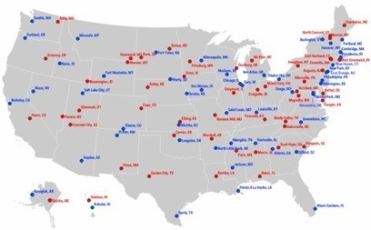 Map: The most liberal and conservative towns in each state - Washington Post (blog) | Social Studies Education | Scoop.it