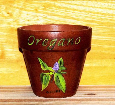 Herb Pot 4.5 Inch Red Clay Terracotta Hand Painted Oregano Made to Order | Antiques n' Oldies | Scoop.it