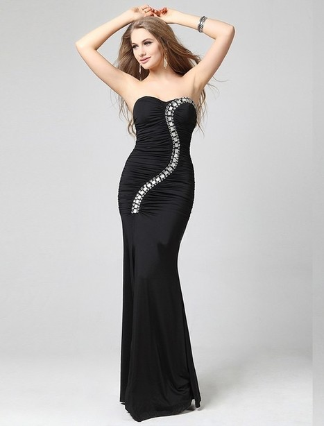 Sheath Column Sweetheart Floor Length Black Evening Dress Olc0076 | Fashion Dresses Online | Scoop.it