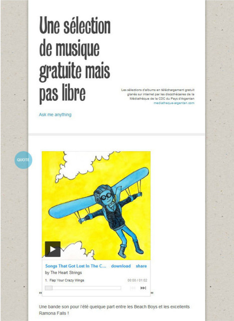 Une sélection de musique gratuite mais pas libre | Une sélection de musique gratuite (mais pas libre !) par la Médiathèque d'Argentan | Scoop.it