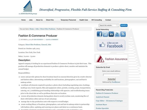 Fashion E-Commerce Producer | The Assurance Group | digital marketing | Scoop.it