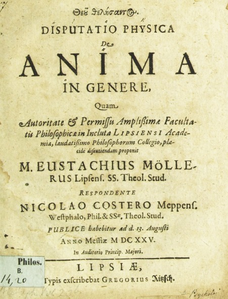 Disputatio physica de anima | Early modern philosophy (mostly natural) | Scoop.it