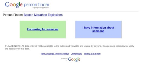 Google launches Person Finder to help people caught in the explosions in Boston | Google.org | Scoop.it