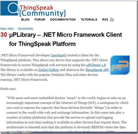 ThingSpeak Community : la mia uPLibrary tra i tutorials ! - DevExperience | Internet Of Things | Scoop.it