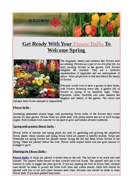 Get ready with your flower bulbs to welcome spring - PDF | Flower Bulbs | Scoop.it