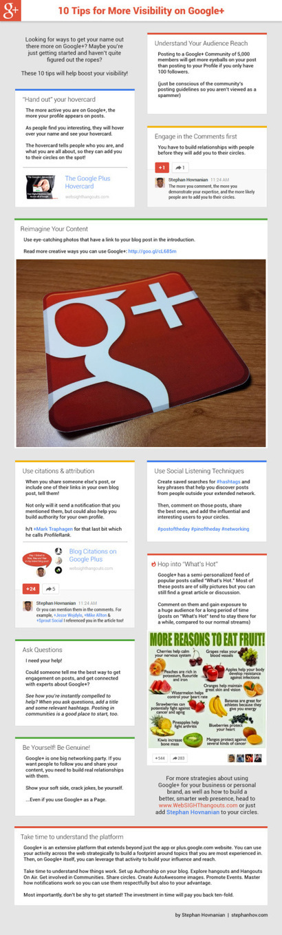 10 consejos para aumentar tu visibilidad en Google + /infografia | Managing Technology and Talent for Learning & Innovation | Scoop.it