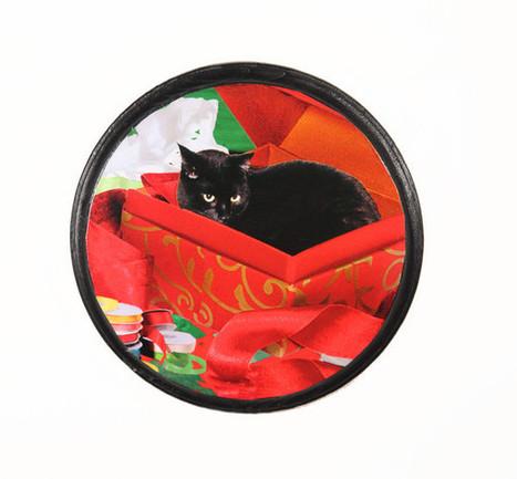 Christmas Cat Wall Art Black Cat In A Box | Deborah Julian Art | Christmas Cat Ornaments and Cards | Scoop.it
