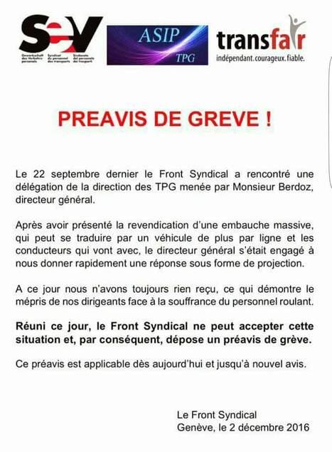 Préavis de grève lancé aux TPG | SNOTPG - Site Non Officiel des tpg | Scoop.it