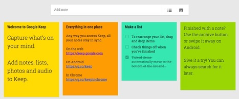 Google Keep  - Create, access and organise notes | Teaching Tools | Scoop.it