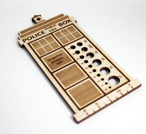 Police Box Knitting Needle Gauge, Laser Cut Wood, Sizes 0 to 17, Ruler | Big and Open Data, FabLab, Internet of things | Scoop.it