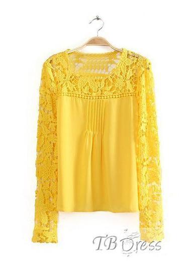 $ 28.99 Gorgeous Euramerican Split Joint Lace  Blouse | fashion | Scoop.it
